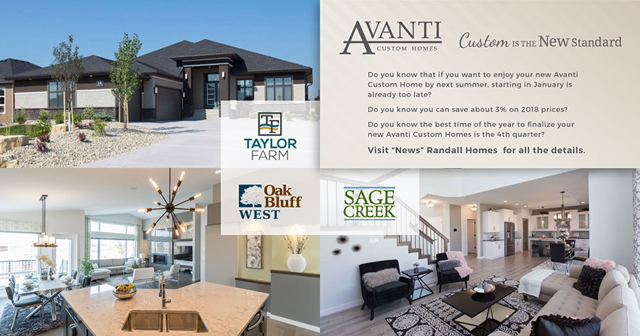 Avanti Custom Homes - Fall promotion - build your home before the end of the year!